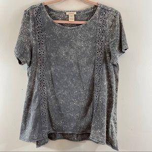 Sundance 100% Cotton Gray & White Tee Shirt Sz M